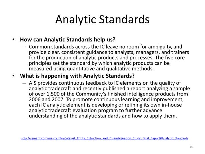Analytic Standards