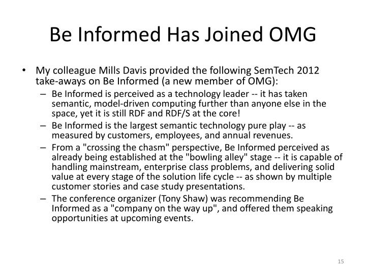 Be Informed Has Joined OMG
