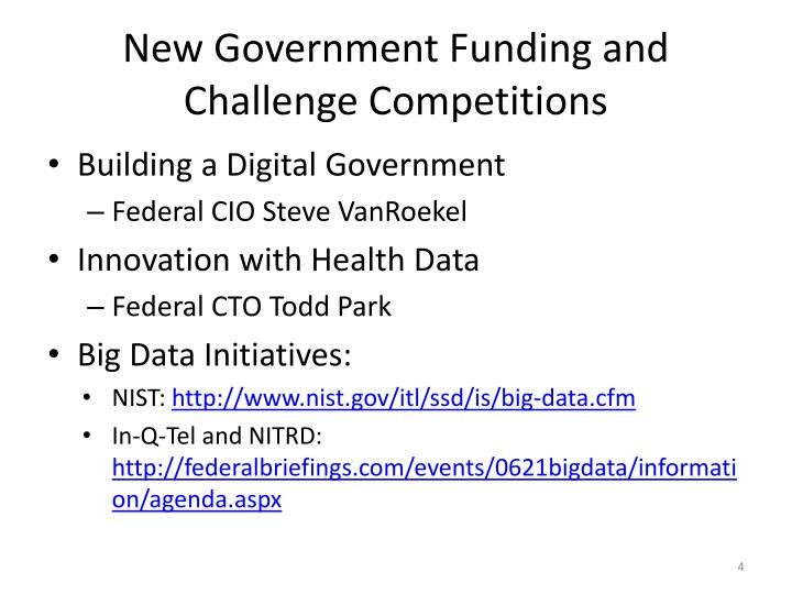 New Government Funding and Challenge Competitions
