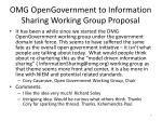 omg opengovernment to information sharing working group proposal