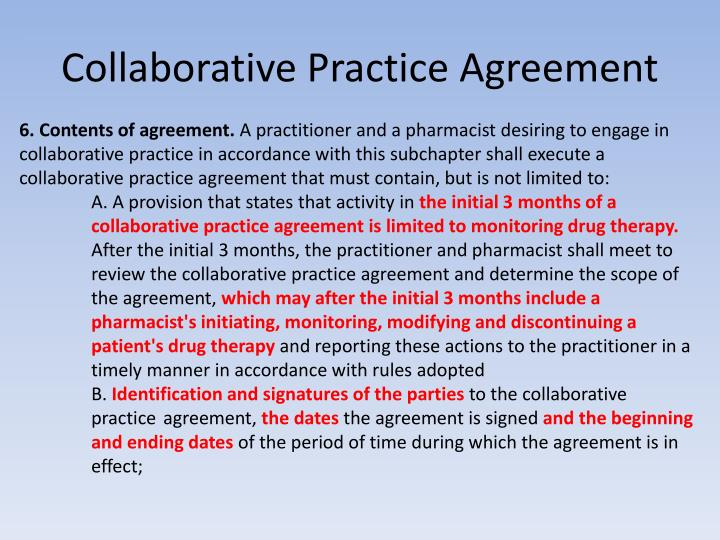 Collaborative Practice Agreement