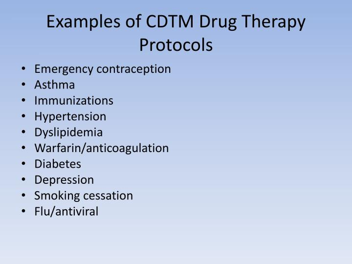 Examples of CDTM Drug Therapy Protocols