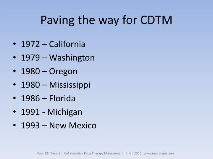 Paving the way for CDTM