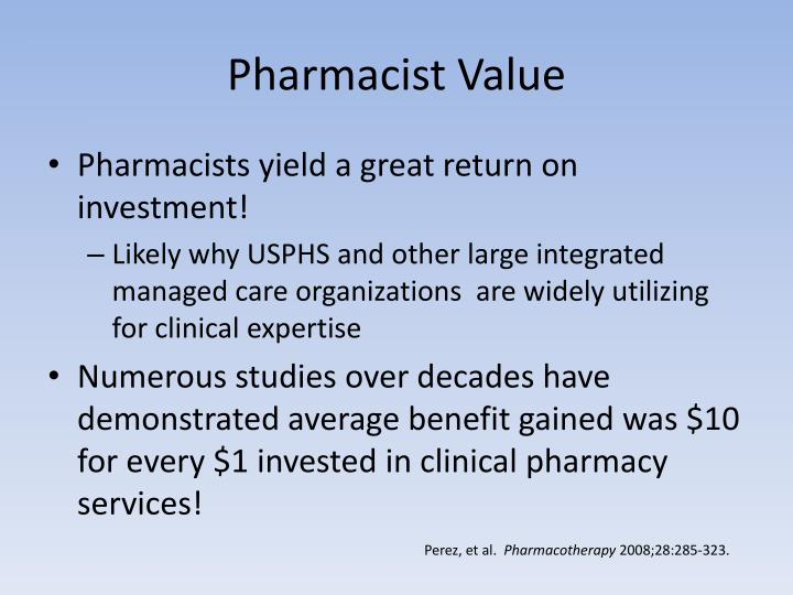 Pharmacist Value