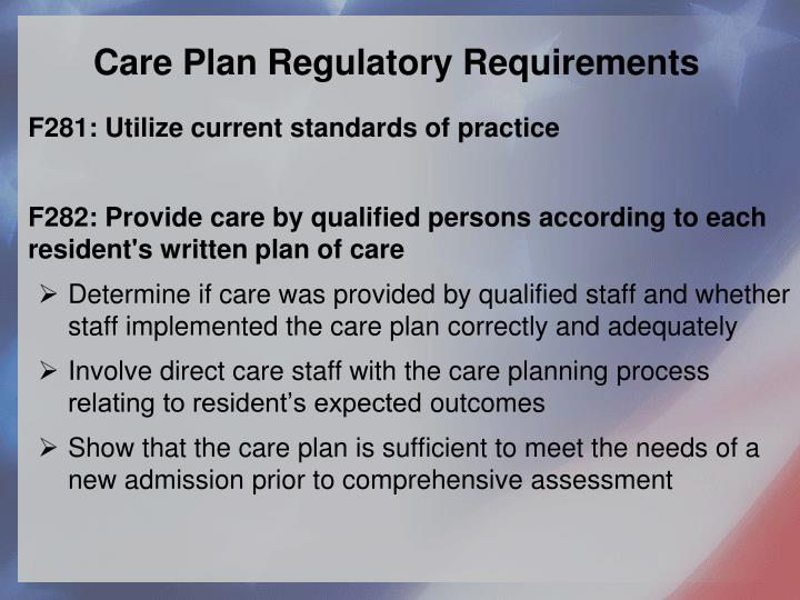 Care Plan Regulatory Requirements