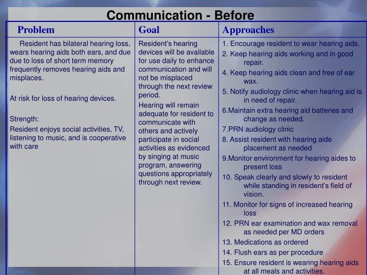 Communication - Before