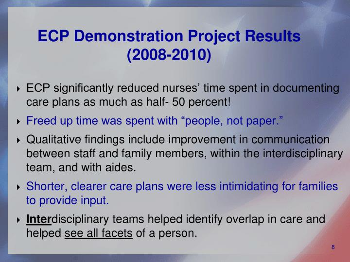 ECP Demonstration Project Results (2008-2010)