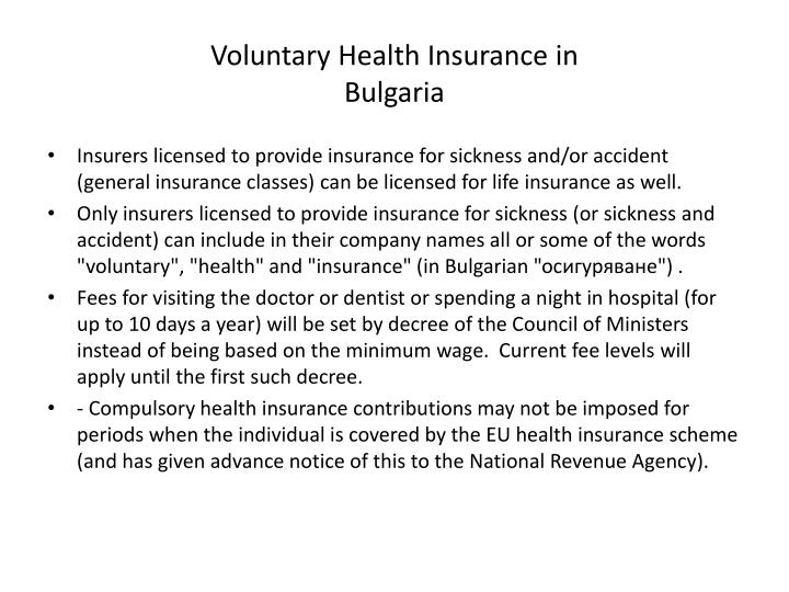 Voluntary Health Insurance in