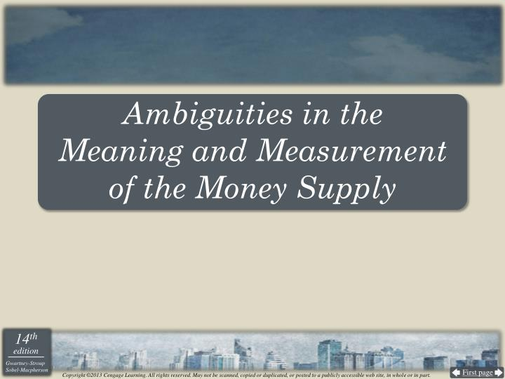 Ambiguities in the