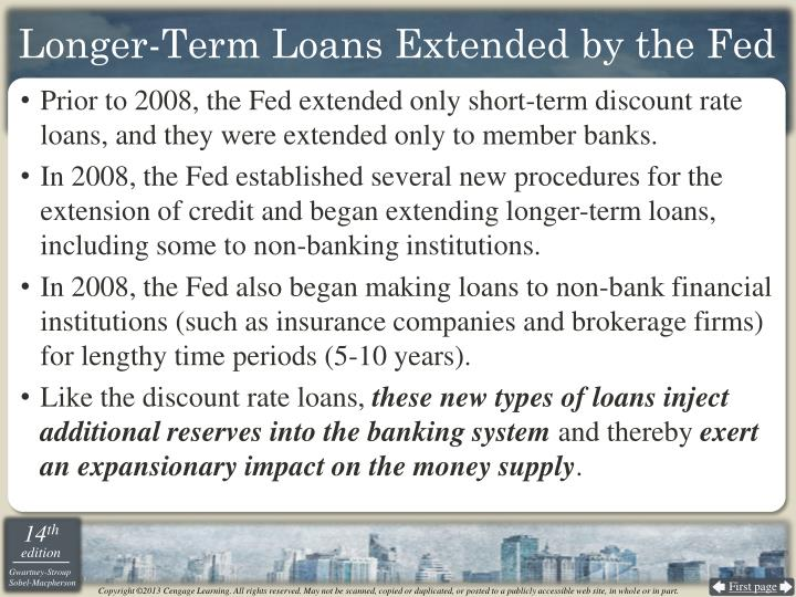 Longer-Term Loans Extended by the Fed