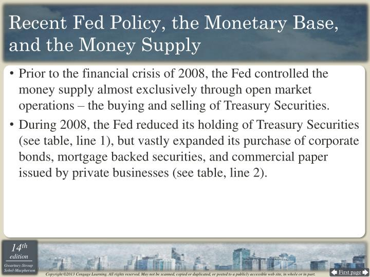 Recent Fed Policy, the Monetary Base, and the Money Supply