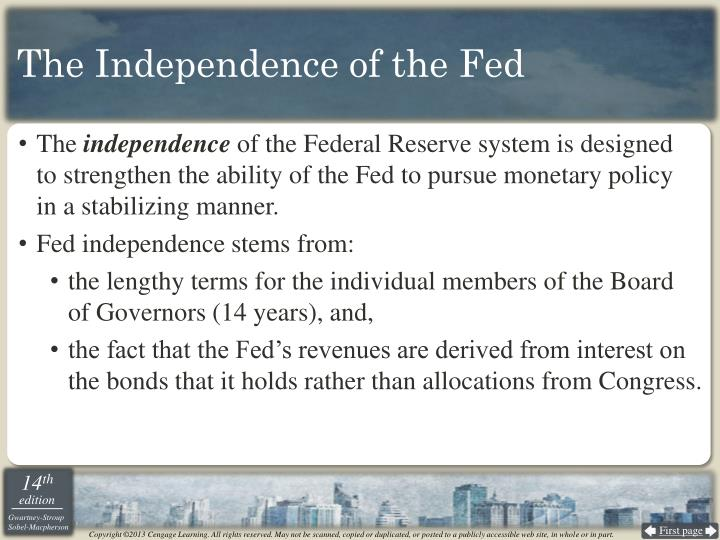 The Independence of the Fed