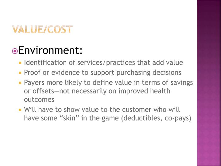 Value/Cost