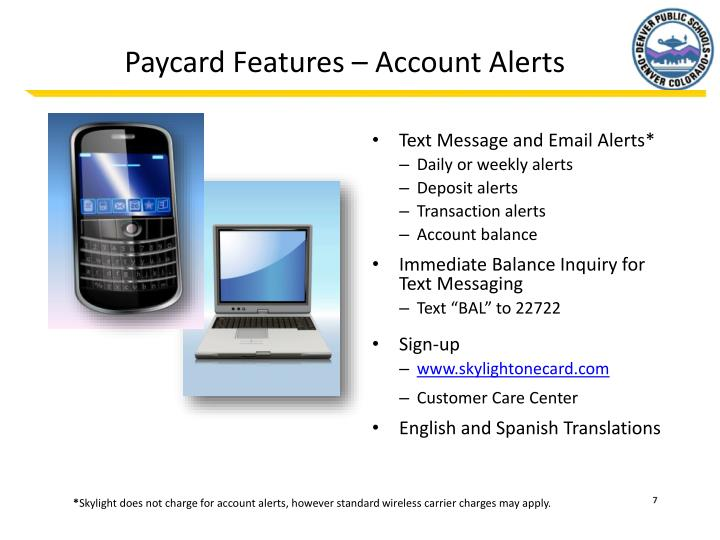 Paycard Features – Account Alerts