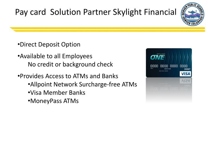 Pay card  Solution Partner Skylight Financial