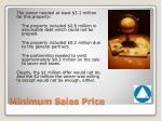 minimum sales price