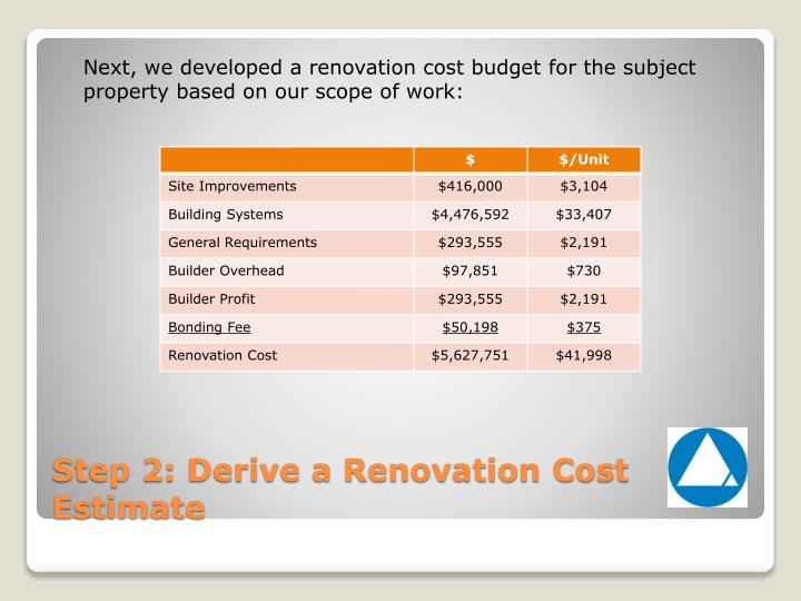 Next, we developed a renovation cost budget for the subject property based on our scope of work:
