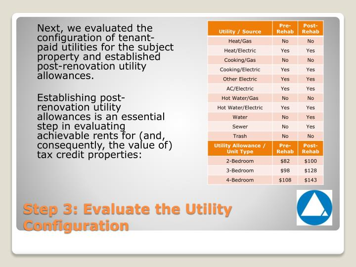Next, we evaluated the configuration of tenant-paid utilities for the subject property and established post-renovation utility allowances.