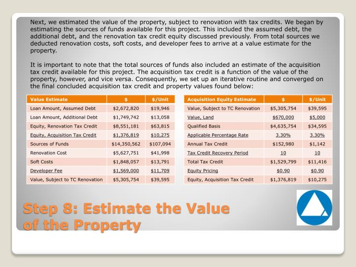 Next, we estimated the value of the property, subject to renovation with tax credits. We began by estimating the sources of funds available for this project. This included the assumed debt, the additional debt, and the renovation tax credit equity discussed previously. From total sources we deducted renovation costs, soft costs, and developer fees to arrive at a value estimate for the property.