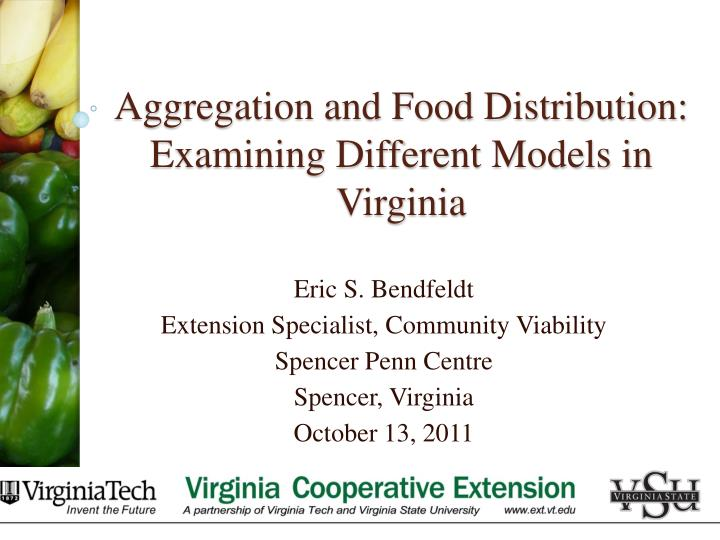 Aggregation and food distribution examining different models in virginia
