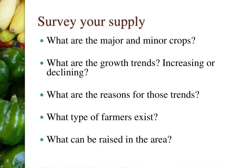 Survey your supply