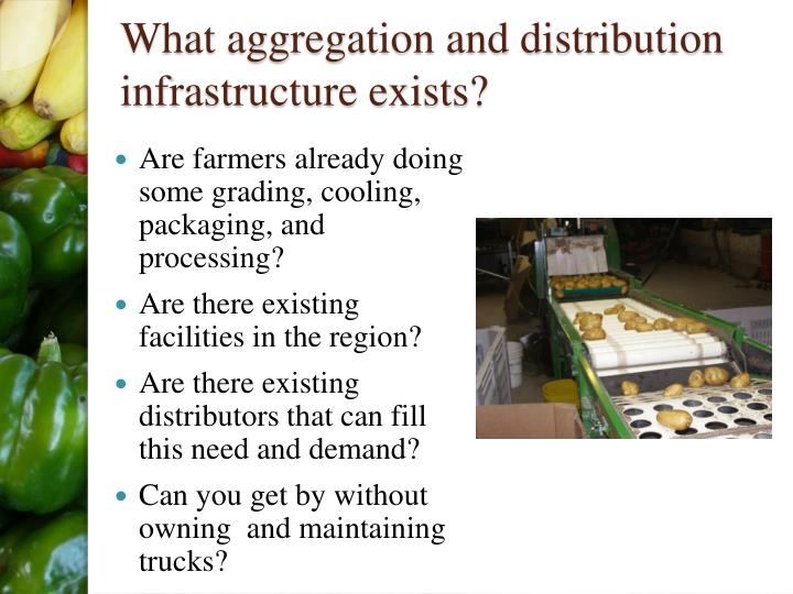 What aggregation and distribution infrastructure exists?