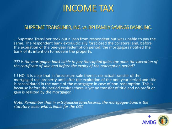 SUPREME TRANSLINER, INC. vs. BPI FAMILY SAVINGS BANK, INC.