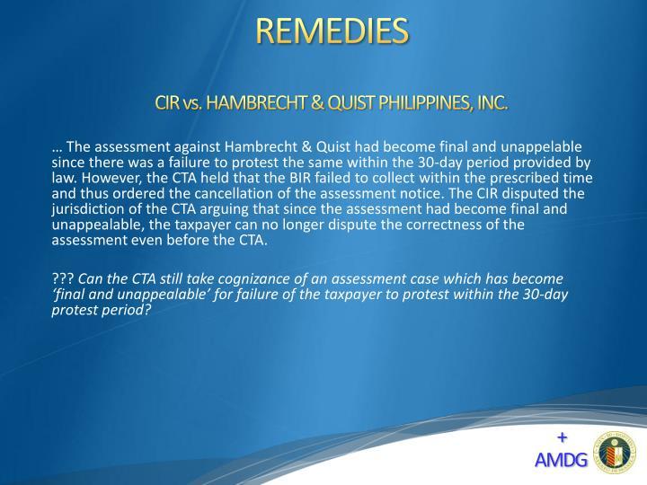CIR vs. HAMBRECHT & QUIST PHILIPPINES, INC.