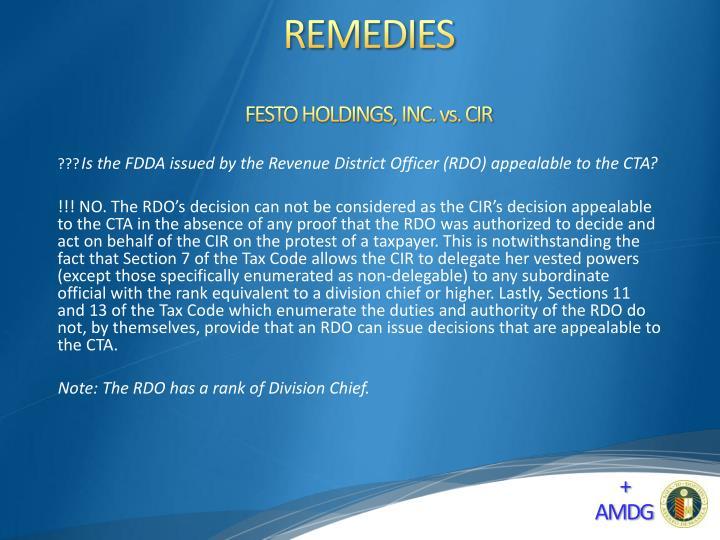 FESTO HOLDINGS, INC. vs. CIR