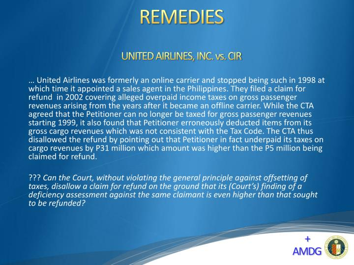 UNITED AIRLINES, INC. vs. CIR