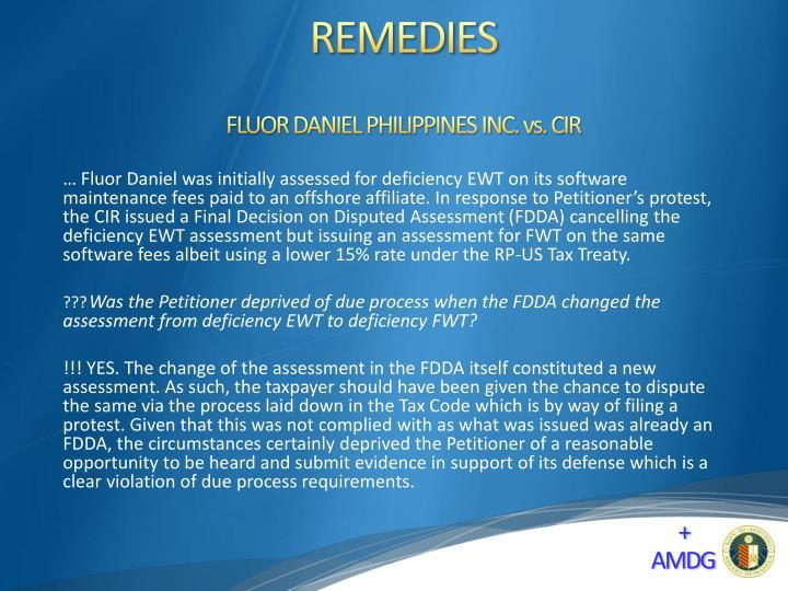 FLUOR DANIEL PHILIPPINES INC. vs. CIR