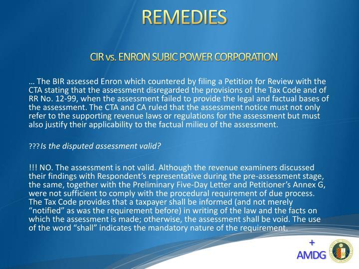 CIR vs. ENRON SUBIC POWER CORPORATION