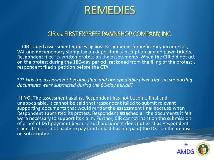 CIR vs. FIRST EXPRESS PAWNSHOP COMPANY, INC.