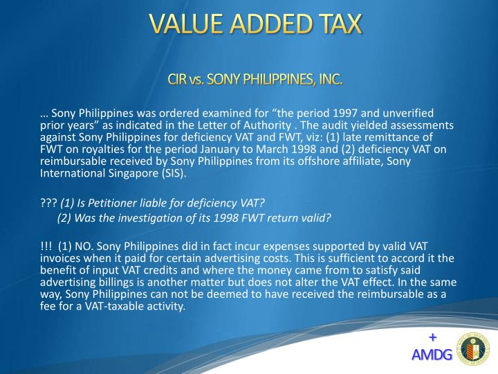 CIR vs. SONY PHILIPPINES, INC.