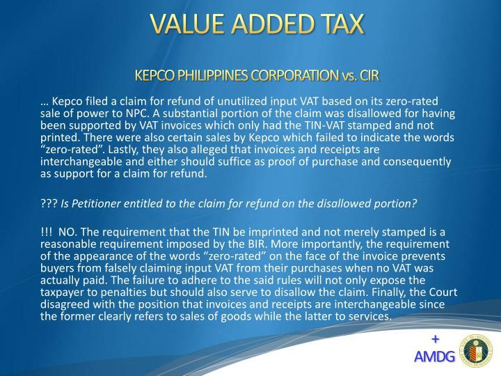 KEPCO PHILIPPINES CORPORATION vs. CIR