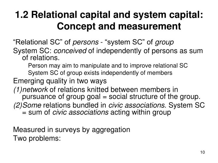 1.2 Relational capital and system capital: Concept and