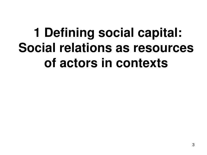 1 Defining social capital: Social relations as resources of actors in contexts