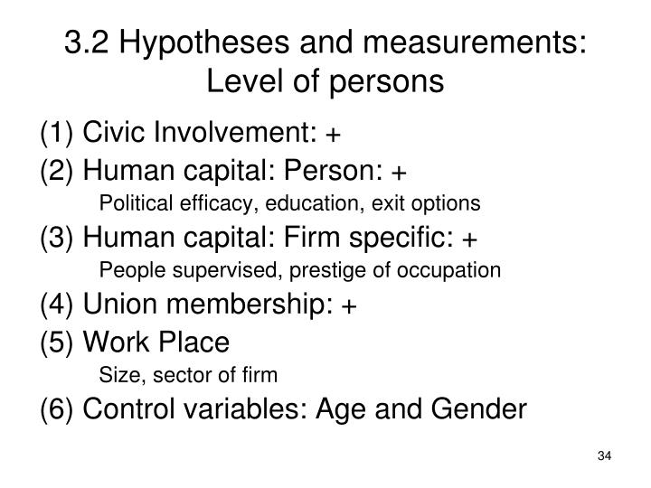 3.2 Hypotheses and measurements: