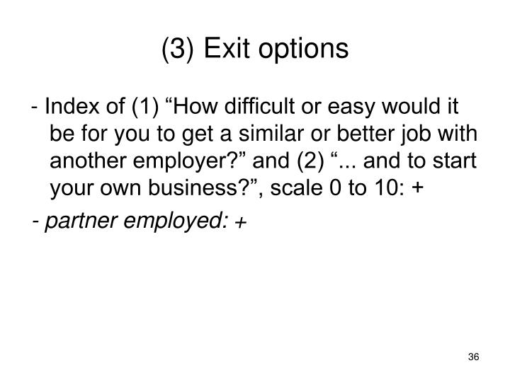 (3) Exit options