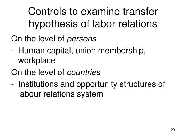 Controls to examine transfer hypothesis of labor relations