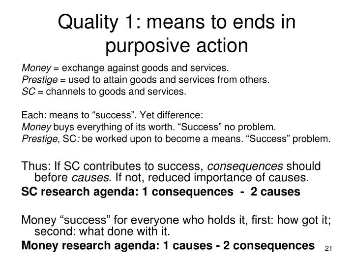 Quality 1: means to ends in purposive action