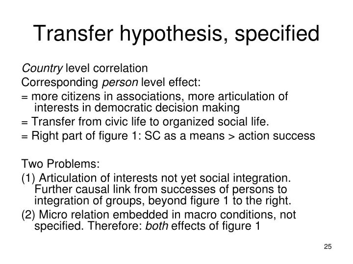 Transfer hypothesis, specified