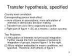 transfer hypothesis specified