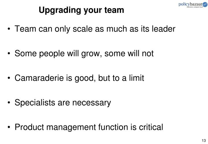 Upgrading your team