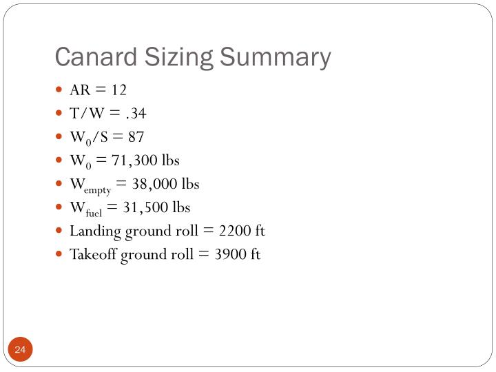 Canard Sizing Summary