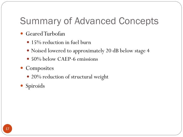 Summary of Advanced Concepts