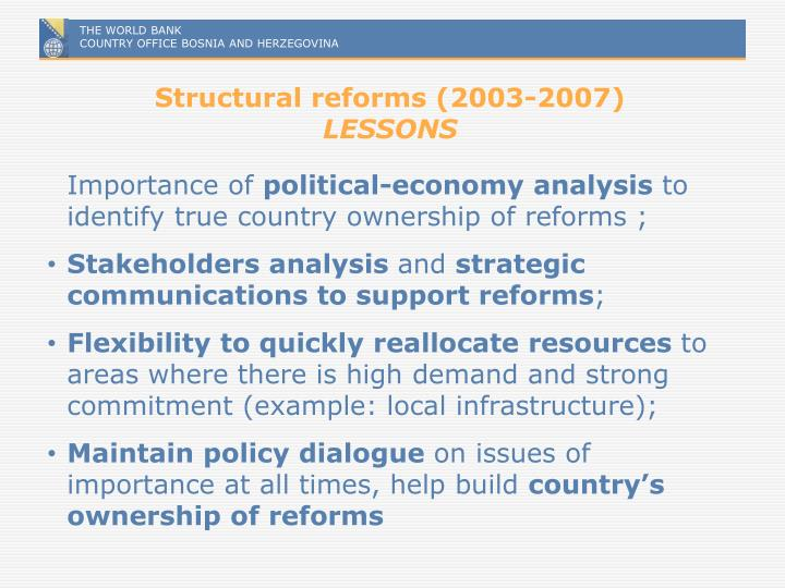 Structural reforms (2003-2007)
