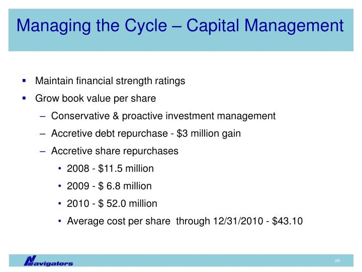 Managing the Cycle – Capital Management