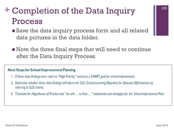 Completion of the Data Inquiry Process