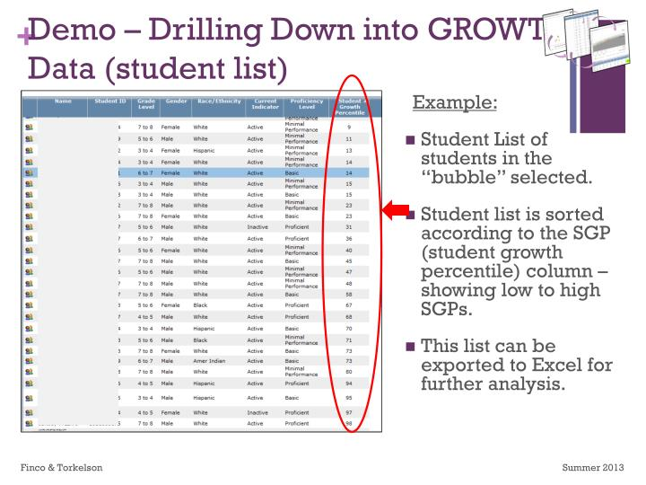 Demo – Drilling Down into GROWTH Data (student list)